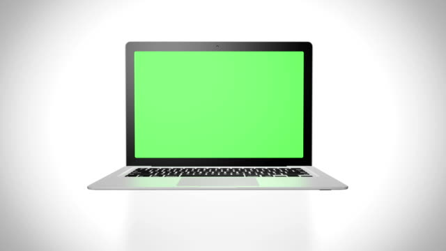 Laptop green screen on white background video