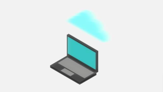 laptop-symbole-design, video animation - kind isometric stock-videos und b-roll-filmmaterial