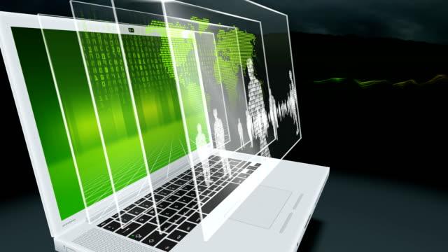 Laptop, light streaks, binary people (green) video