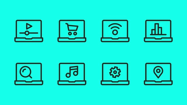 Laptop Line Icons - Vector Animate