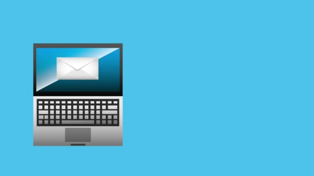 vídeos de stock, filmes e b-roll de laptop tecnologia digital de envio de e-mail - clip art