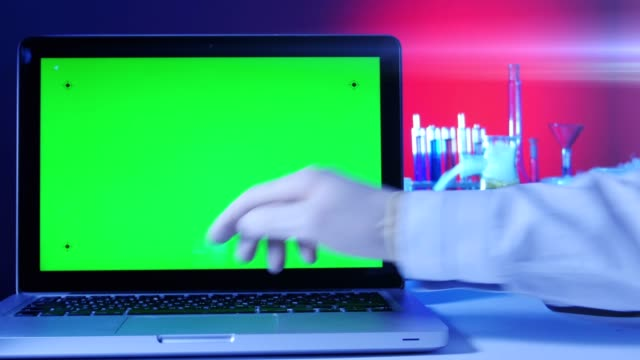 Laptop with a Green Screen in the Laboratory video