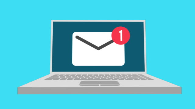 laptop with envelope mail notice. symbol of email receiving. - newsletter video stock e b–roll