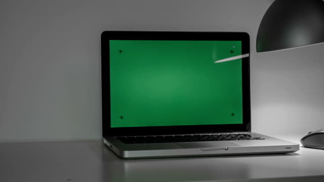 Laptop With  Green Screen Laptop With  Green Screen. Dolly shot. Easy for tracking and keying / with tracking markers. Dolly shot. website design stock videos & royalty-free footage
