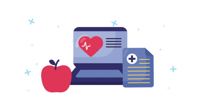 laptop with healthcare online and heart cardio video