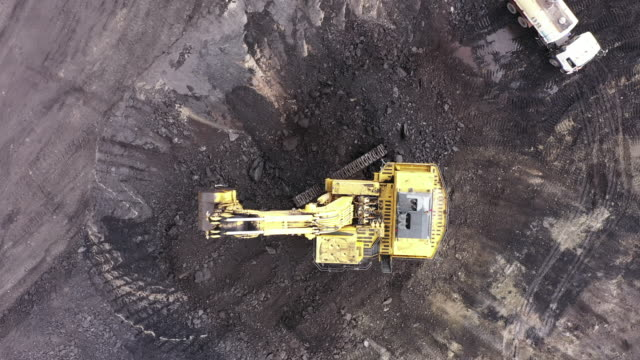 A large backhoe is working in a coal mine. A large backhoe is working in a coal mine. construction machinery stock videos & royalty-free footage