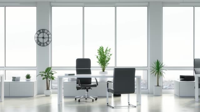 большие яркие офисные помещения. зацикленая анимация в ультра hd, 4k - space background стоковые видео и кадры b-roll