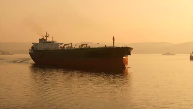 Bидео large cargo ship at dawn passes the Bosphorus