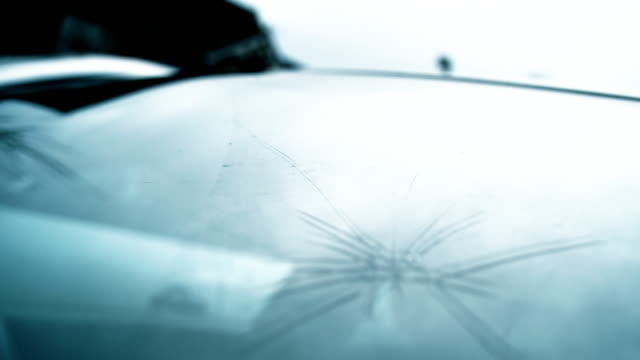 Large chipped and smashed windscreen on modern car