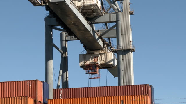 Large cranes moving containers video