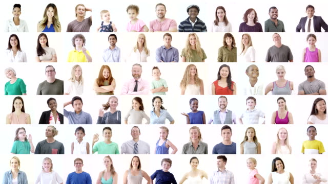 Large Diverse Group of Happy People A video collage of a large diverse group of people. square composition stock videos & royalty-free footage