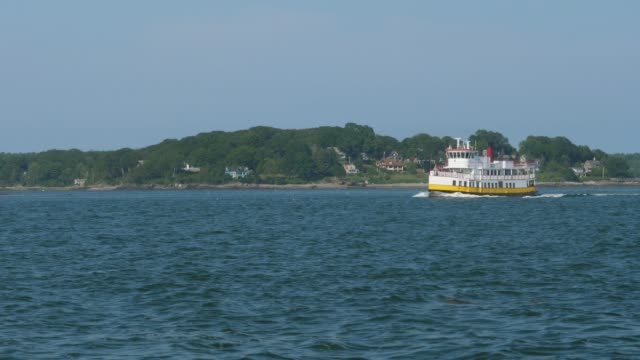 Large Ferry Boat Takes Tourists on Fore River in Portland Maine video