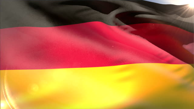 Large german national flag waving video