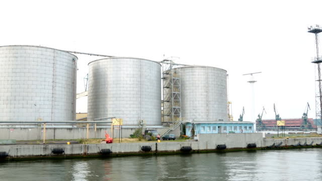 Large grain terminal in port of Gdansk, Polish food industry, view from sea video