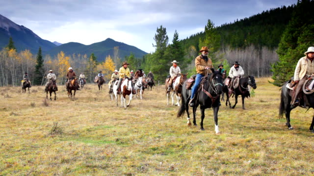 Large Group of Cowboys on old west cattle roundup video