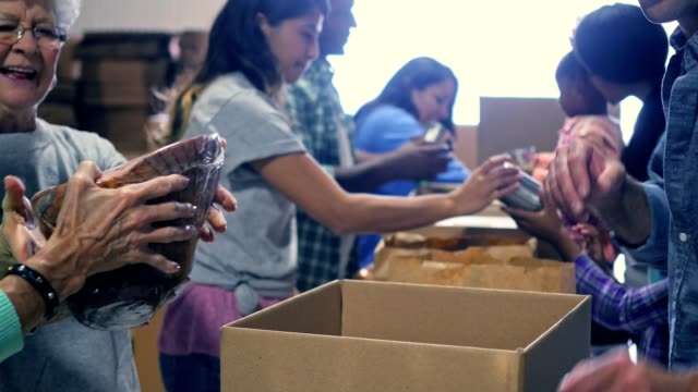 Large group of volunteers pack food in donation boxes video