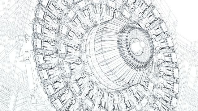 large hadron collider wireframe blueprint - ingenieurwesen stock-videos und b-roll-filmmaterial
