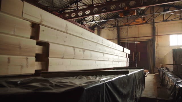 Large hangar with the production line for wood video