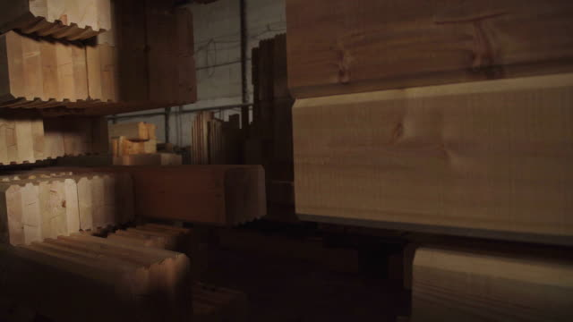 Large hangar with the production line for wood. Wood Factory video