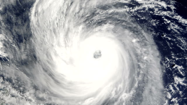 Large hurricane swirls in the ocean video