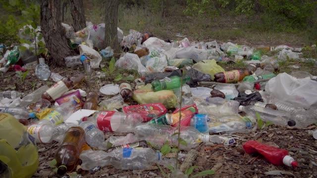 森林の道に大きな違法なダンプ。プラスチック、バッグ、ボトル、その他の廃棄物の束は、環境を汚染します。美しい汚い風景ではなく、悲しい光景 - 有害物質点の映像素材/bロール