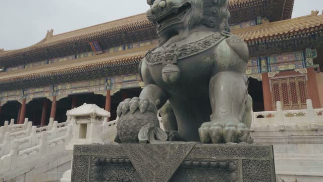 Large Imperial Lion statue inside the Forbidden City,Beijing,China.
