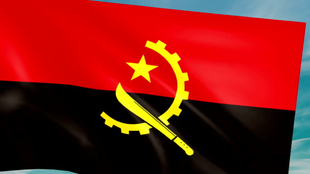 Large Looping Animated Flag of Angola video
