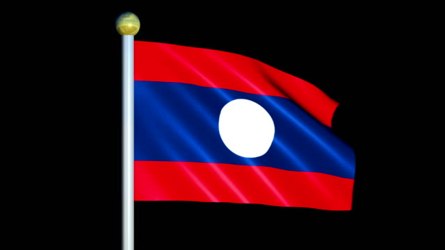 Large Looping Animated Flag of Lao People's Democratic Republic video