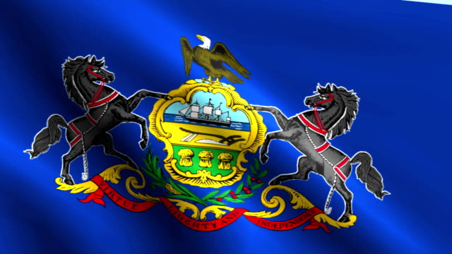Large Looping Animated Flag of Pennsylvania video