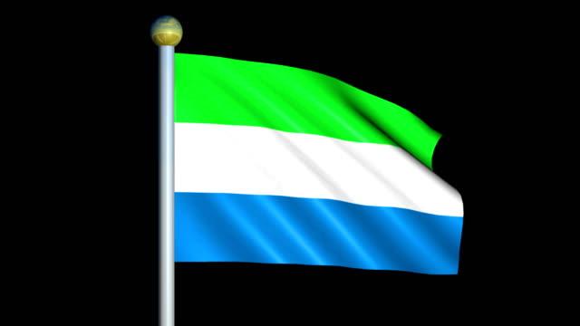 large looping animated flag of sierra leone - sierra leone video stock e b–roll