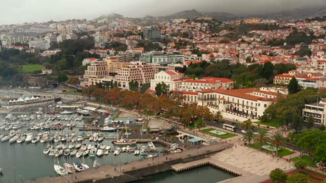 vídeos de stock e filmes b-roll de large luxury white cruise ship at seaport of funchal - funchal madeira