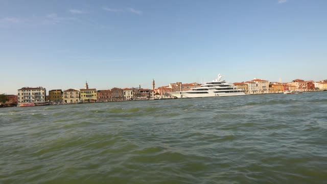 large luxury yacht moored in venice, private large yacht in venice - passenger craft stock videos & royalty-free footage