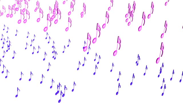 Large march of colorful musical notes, 3D rendering