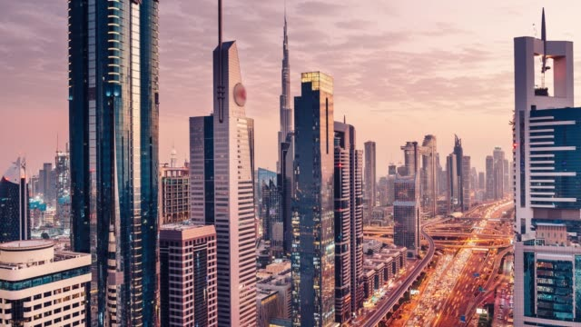 Large megacity cityscape timelapse in sunset video