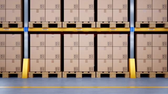 Large metal shelves at modern warehouse, pallets with cardboard boxes. Loopable 60fps animation.