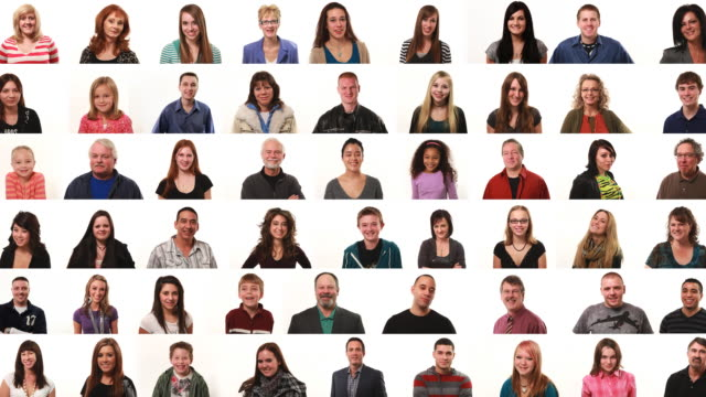 Large montage of people on white background video