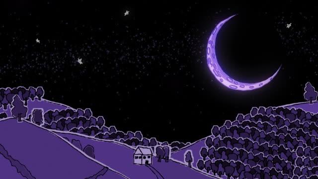 stockvideo's en b-roll-footage met large moon over doodled rural landscape - sleeping illustration
