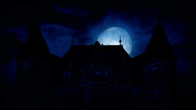 Large Moon Rises Behind Scary Mansion video