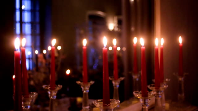 large number of red candles video
