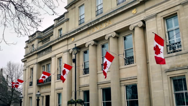 large old building with canadian flags - passports and visas stock videos and b-roll footage