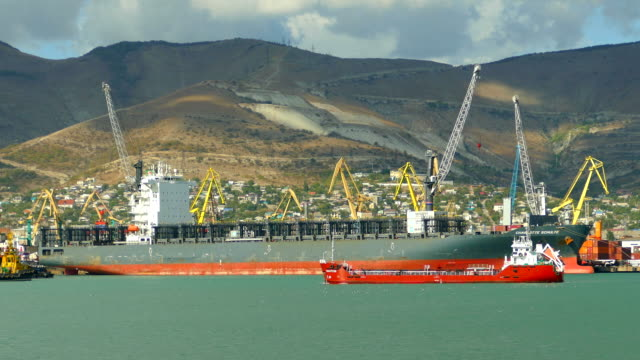 Large seaport with ships Large seaport with ships refueling stock videos & royalty-free footage