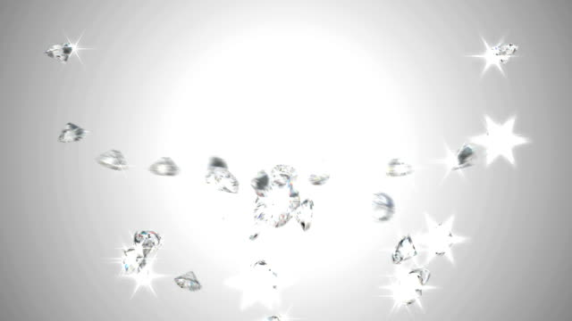 Large sparkling diamonds flow with slow motion