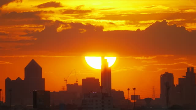 Large sunset in Bangkok. video