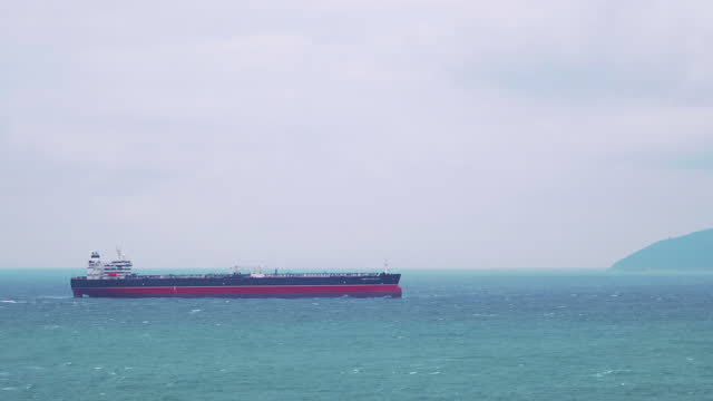 Large tanker ship during sea cruise in 4k slow motion 60fps