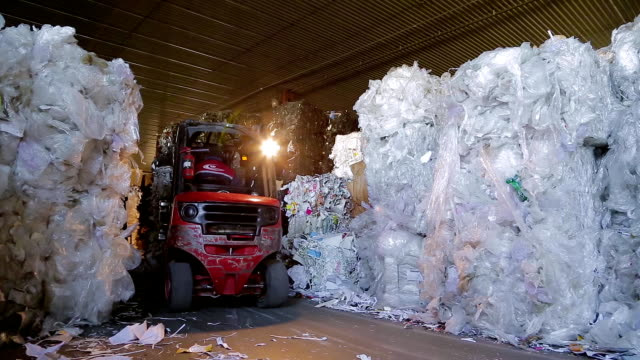 Large warehouse of waste paper in a factory video