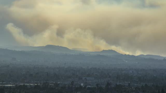 Large wildfire burns above Malibu, California video