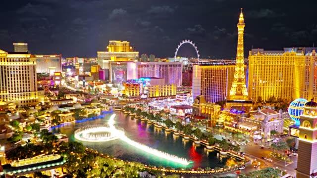 Las Vegas aerial view. Fountain. Eiffel Tower. High Roller Observation Wheel. Night