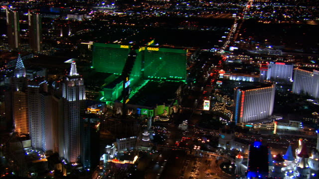 Las Vegas At Night  - Aerial View - Nevada,  Clark County,  United States video