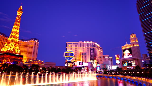 las vegas cityscape - fountains stock videos & royalty-free footage