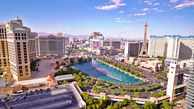 Las Vegas. Hotel. Casino. Fountain. The Strip. Aerial View.